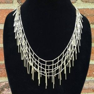 Layered spiky gold tone necklace